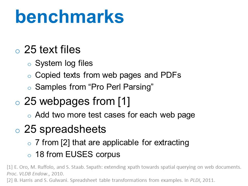 benchmarks 25 text files 25 webpages from [1] 25 spreadsheets